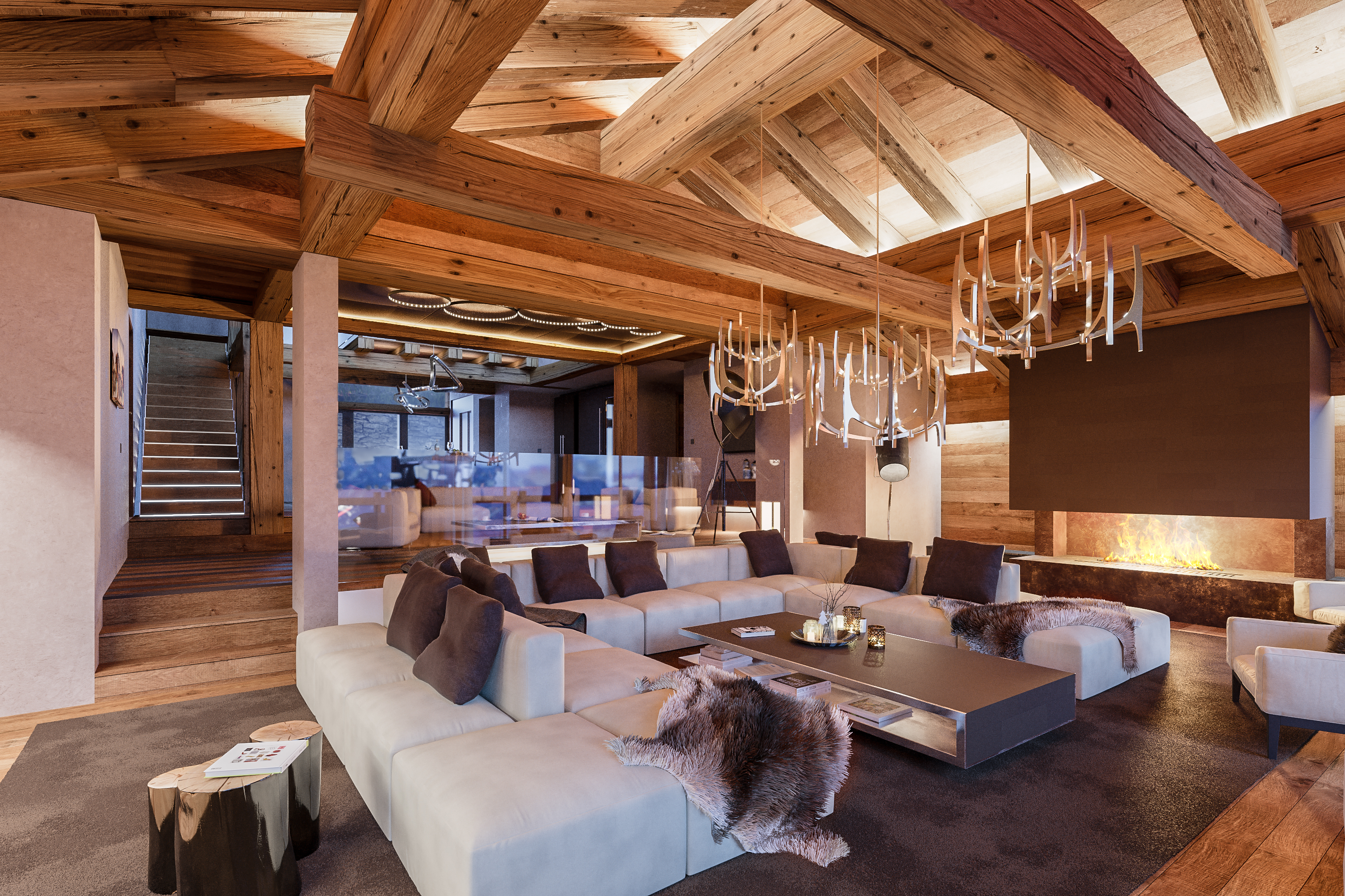 Am nagement int rieur d un chalet dans les alpes suisses for Amenagement interieur chalet